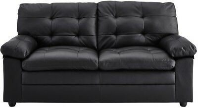 Black Tufted Leather Sofa Living Room Furniture Apartment Sofas Couches NEW  | eBay