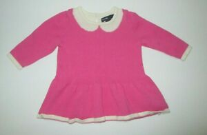INFANT-GIRLS-BABY-GAP-PINK-SWEATER-KNIT-FAUX-COLLAR-DRESS-SIZE-0-3-MONTHS-1