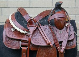 """USED 15"""" HEAVY DUTY THICK LEATHER WESTERN ROPING RANCH WORK COWBOY HORSE SADDLE"""