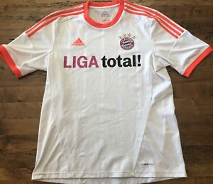 brand new 49ff1 b14c2 Details about Bayern Munchen Adidas Coolmax Mens Large Away Jersey White  LIGA Total! Munich