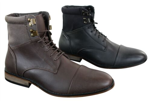 Mens Slim Fit Vintage Retro Sherlock Laced Smart Casual Ankle Boots Leather