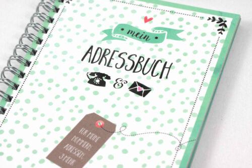 Mein Adressbuch /& Telefonbuch grün Kalender DIN A6 MINI Organizer