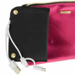 Juicy-Couture-Phone-Charging-Cosmetic-Bag-Wristlet-Iridescent-Pink-Saffiano-new