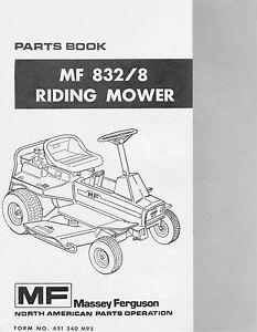 massey ferguson mf 832 8 garden tractor parts manual ebay rh ebay com Massey Ferguson Service Manual Workshop 1085 Massey Ferguson Parts Manual