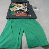 Wwe Raw Boy's Outfits S(6/7) Punk, Cena And Mysterio Gray Top Green Pants