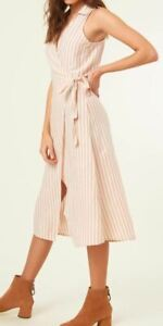 O-039-Neill-SKYLIE-Womens-Wrap-Front-Vintage-Stripe-Midi-Dress-Small-Off-White-NEW