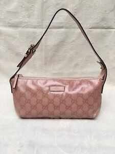 Authentic-Vintage-Gucci-Pink-Leather-Coated-Canvas-GG-Logo-Shoulder-Hand-Bag