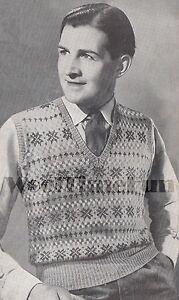 5fbdce357 Vintage Knitting Pattern Men s Fair Isle Vest Slip over Tank Top ...