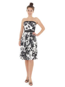 Richard Kravetz Bandeau Dress Cocktail Dress White Zipper a-Line
