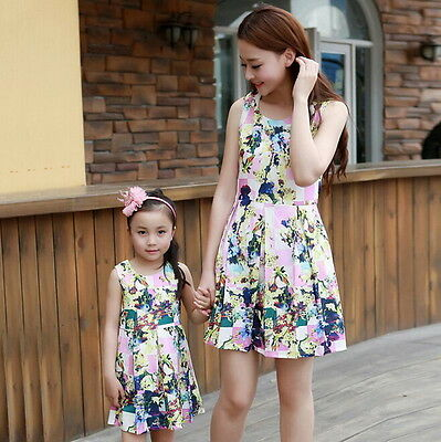 New Women Mother Daughter Matching Dresses Summer Girl Dress Clothes Outfit QW