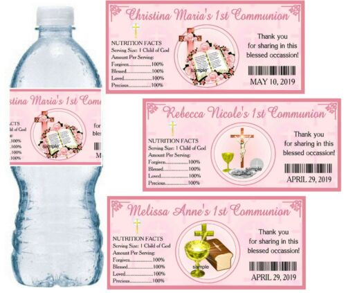 20 FIRST 1st HOLY COMMUNION PARTY FAVORS WATER BOTTLE LABELS