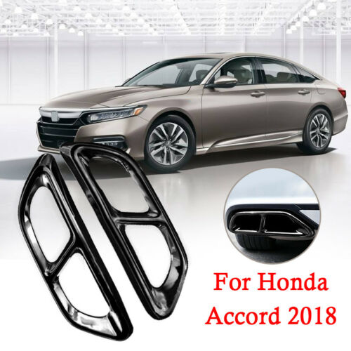 Black Titanium Rear Cylinder Exhaust Pipe Cover Trim For Accord 2018 2019 2020