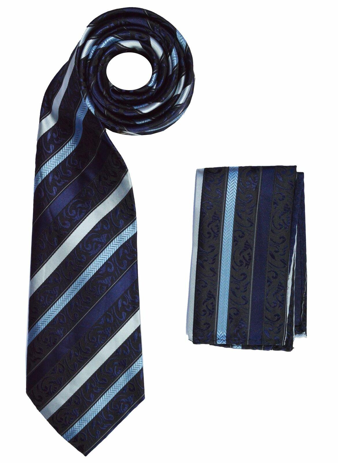 BERLIONI ITALY NECKTIE MATCHING SET FANCY LUXE NECKTIE W/HANKY TIES BABY BLUE