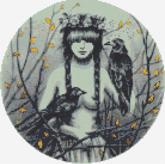 "Rook Nymph Counted Cross Stitch Kit Fantasy Fairies 10"" x 10"" 14ct Free P&P"