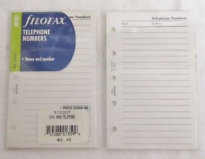 ref 510207 name /& Number 2 packs Filofax Mini Refill Telephone Numbers