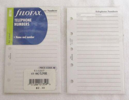 name /& Number Filofax Mini Refill Telephone Numbers 20 per pack ref 510207