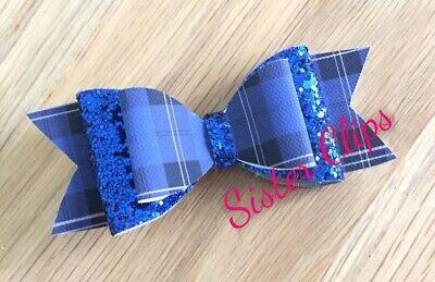 "Back to school 2 royal blue gingham /& royal blue glitter 2.5/"" Hair Bow bobbles"