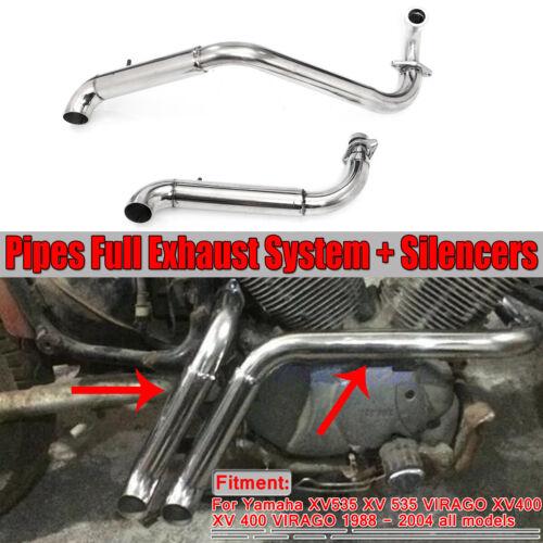 Muffler Exhaust Pipes System Silencers For Yamaha Virago XV535 XV400 1988-2004