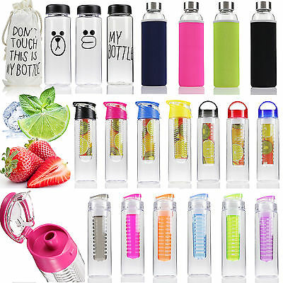 Portable Fruit Infusing Infuser Water Bottle Tea Lemon Juice Sports Flip Lid Cup