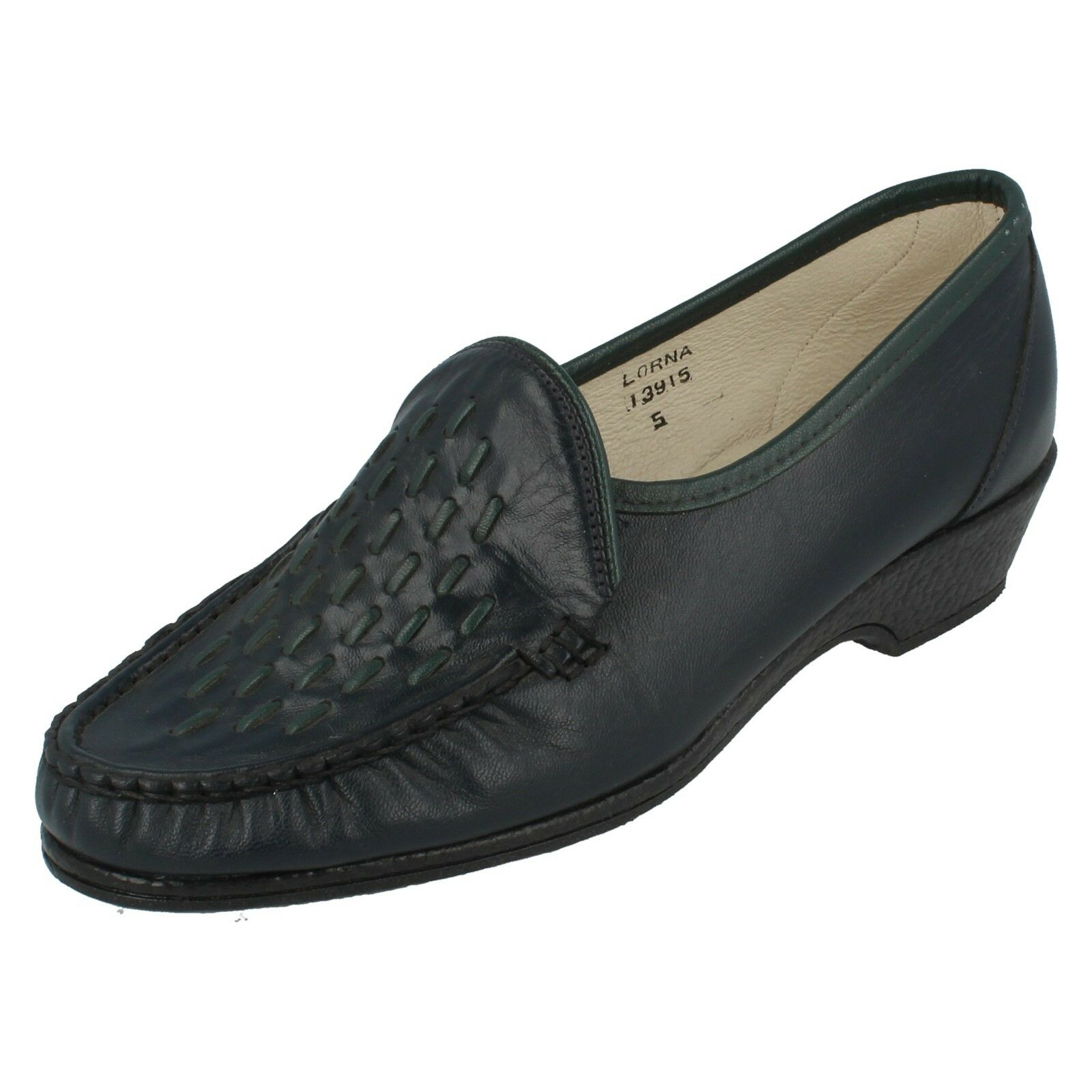 Ladies navy/green leather SANDPIPER shoes style LORA UK 5