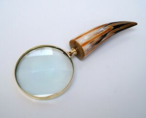 Antique Style Hand Held Brass Magnifier Magnifying Glass Mother of Pearl Handle