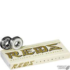 "BONES ""Ceramic Super Reds"" Skateboard Bearings Longboard Old Skool x8 608 8mm"