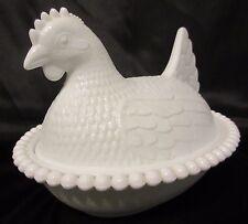 Vintage Indiana Hen on Nest Bowl Candy Dish Opaque White Chicken Milk Glass