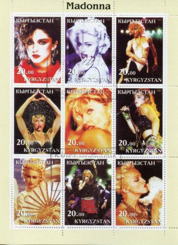 Kyrgyzstan 2003 CTO Madonna 9v M/S Celebrities Music Popstars Stamps