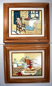 H-Hargrove-Country-Apple-Pie-Set-of-Two-Framed-Oil-Paintings-Americana