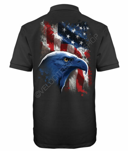 Velocitee Speed Shop Maglietta Polo Uomo American Icon Eagle USA Flag Biker A17992