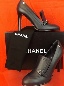 a3aaece699 16A NIB CHANEL NAVY LEATHER CC LOGO BELTED BUCKLE PLATFORM LOAFERS ...