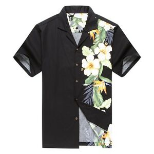Made-in-Hawaii-Men-Hawaiian-Shirt-Side-Bird-of-Paradise-Hibiscus-Floral-in-Black