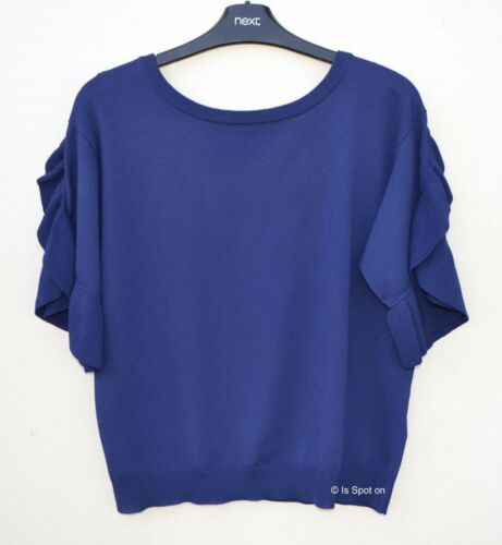 V Back 10 NEXT Blue Thin Knit Ruffled Short Sleeve Jumper Top BNWT 12