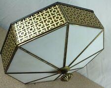 Retro Mid Century Mod White Glass Octagon Gold Trim Flat Ceiling Light Fixture
