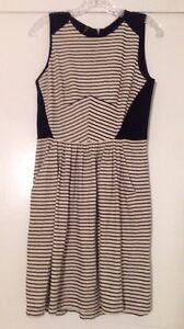 Rebecca-Taylor-Mixed-Media-Silk-Cotton-Striped-Navy-amp-Cream-A-Line-Dress-Sz-S-M