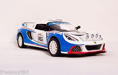 BLUE WHITE 2012 /'12 LOTUS EXIGE R-GT Vehicle Diecast 1//32 Pull Back Sportscar