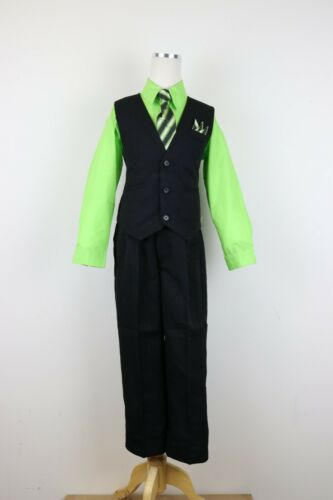 Lime Apple Green Boys pinstripe vest 4 piece set formal suit easter all size