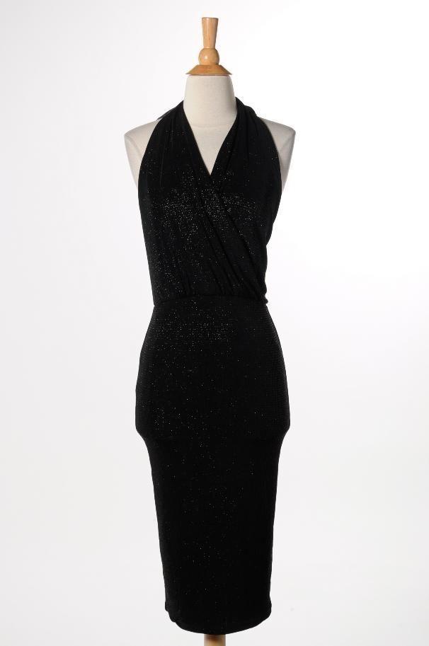 New GUESS by Marciano schwarz Glitter Halter Stretch Dress Größe S