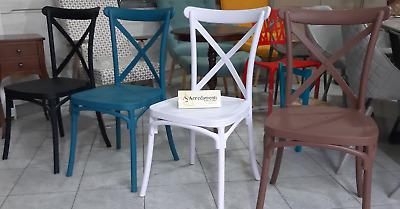 Sedia In POLIPROPILENE cucina bar moderno VINTAGE Paesana Cross design BIRRERIA | eBay