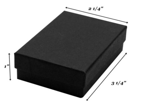 """100 Black Matte Cotton Filled Jewelry Gift Boxes 3 1//4/"""" x 2 1//4/"""" x 1/"""""""