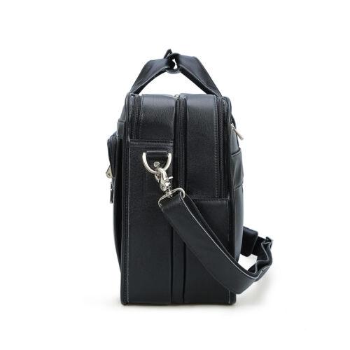 "Full Grain Leather Messenger Bag For Men 17/"" Laptop Briefcase Travel Satchel"