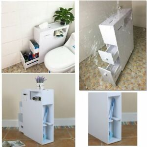 Image Is Loading Slimline Organiser Bathroom Cupboard Cabinet White Wooden Toilet