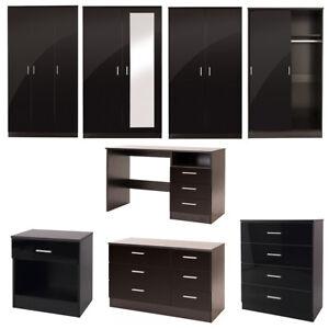 Details about Black Gloss Bedroom Furniture Set Chest Wardrobe Dressing  Table Bedside Cabinet
