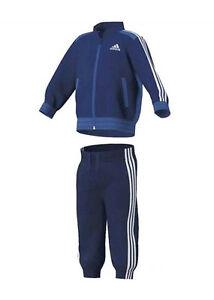 Details zu Adidas KinderBabyjogger Trainingsanzug Jogginganzug blauweiß Microfaser G83701