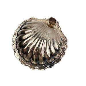 Vtg-Silver-Plate-Scallop-Clam-Shell-Dish-Trinket-Tray-England-Patina-Shabby
