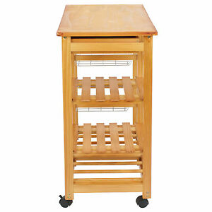 Image Is Loading Wood Kitchen Island Cart Trolley Portable Rolling Storage