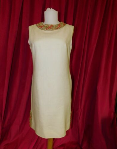 Vintage MOYGASHEL Cream w/ Beading Dress w/ Slip #
