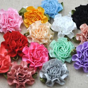 40Pcs-U-Pick-Ribbon-Flower-carnation-Appliques-sewing-craft-wedding-lots-E43