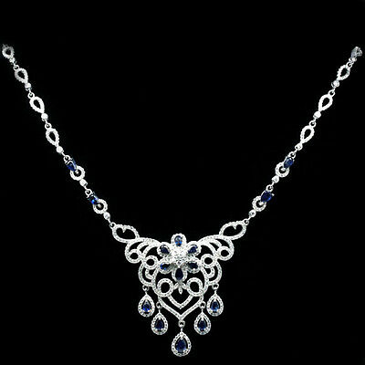 127 CTS!! STUNNING!! NATURAL RICH BLUE SAPPHIRE 925 SILVER NECKLACE 19""