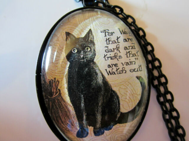 Black cat with witch quote glass pendant necklace jewelry gothic HALLOWEEN